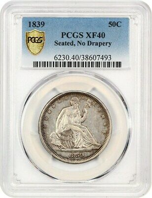1839 50c PCGS XF40 (No Drapery) Scarce Type Coin - Liberty Seated Half Dollar