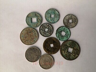 Collection Chinese Ancient Dynasty Bronze 10 Pieces Coin FengShui Decoration