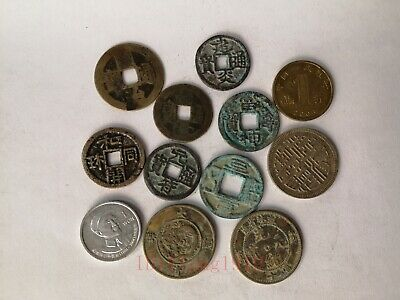 Collection Chinese Ancient Dynasty Bronze 12 Pieces Coin FengShui Decoration