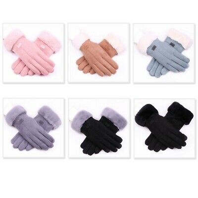Autumn and Winter Suede Gloves Women's Warm Press Screen Haired Gloves Rid Y7N5