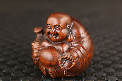 Rare Chinese old boxwood Maitreya Buddha figure statue netsuke collectable