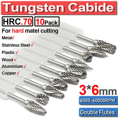 10PCS Tungsten Carbide Rotary Point Burr Drill Bit Shank Die Carving Grinder Set