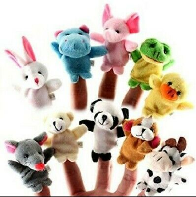 10PCS/Set Animal Finger Puppets Plush Cloth Doll Baby Educational Hand Kids Toy