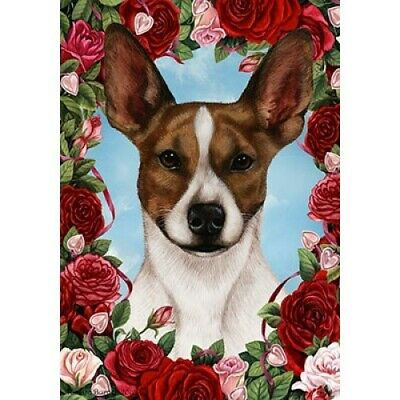 Roses House Flag - Brown and White Rat Terrier 19130