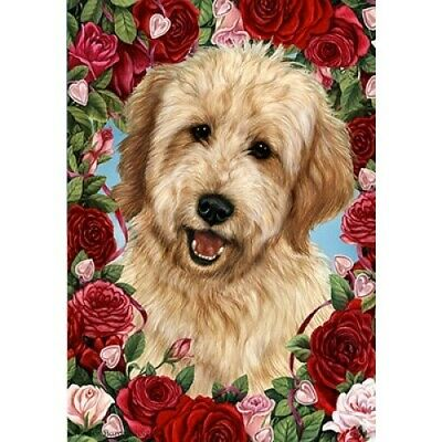 Roses House Flag - Buff Goldendoodle  19268
