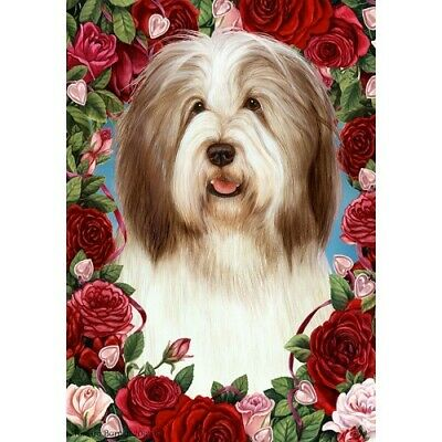 Roses House Flag - Brown and White Bearded Collie 19482