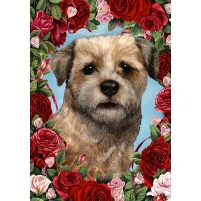 Roses House Flag - Border Terrier 19122