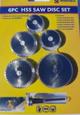 6pcs HSS Saw Disc Wheel Cutting Blades For Drills Rotary Tools and Mandrel UK