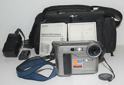 Sony Mavica MVC-FD71 Camera, Battery and Charger, Case, and Manuals (Working)