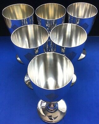 """Set 6 Ag Schultz Sterling Silver Goblets Wine Water Hand Made #23 Nice """"Afs"""""""