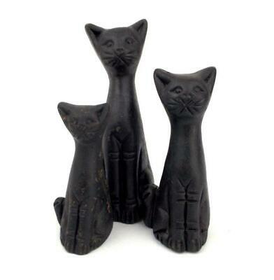 Sitting Cat Figurines Black Clay Handmade Statues Set of 3 NOS CONCERNED CRAFTS