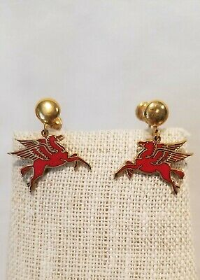 vintage Mobil Oil Earrings Red flying horse pegasus screw back