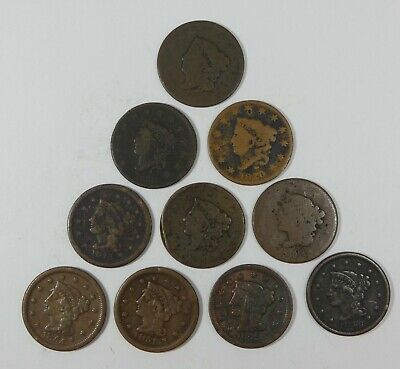 LOT x 10 Different Date LARGE Cents Cull or Better 1817 -  1855