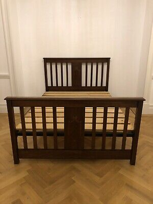 Antique Edwardian / Victorian Mahogany Double Bed Solid Wood Vintage Bedstead