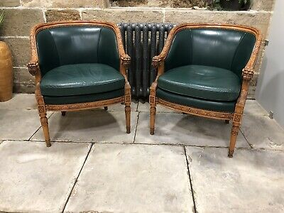 Fine Pair Rare Vintage Carved Frame Chair Rams Head Arms Green Leather