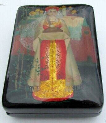 Russian Lacquer Hand Painted Vintage Box Hospitality Girl