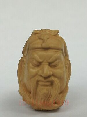 Collection Old Chinese Wood Carving Guan Yu Statue Amulet Pendant Decoration