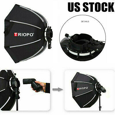 TRIOPO 65cm Foldable 8-Pole Octagon Softbox For Godox Camera Flash Light US M9D6