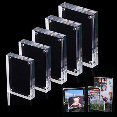1x Acrylic Clear Photo Frame Picture Free Standing Magnetic Acrylic Frame Gifts