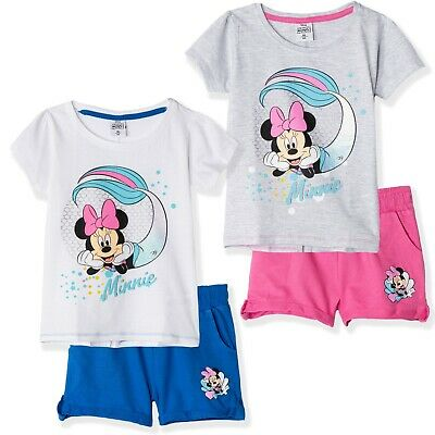 Disney Minnie Mouse Girls Cotton T-Shirt & Shorts Summer Outfit Clothes Set 3-9y