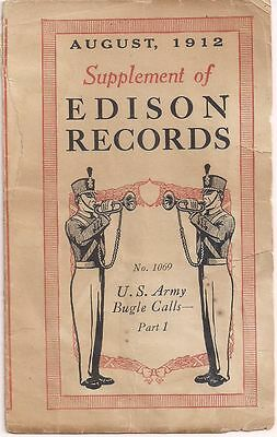 """""""Supplement of EDISON RECORDS August 1912"""" Extremely RARE"""