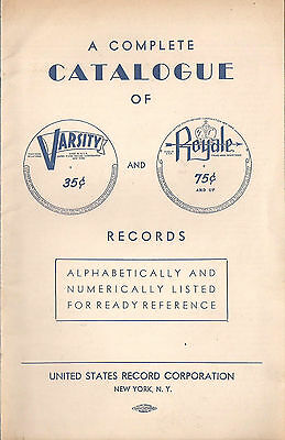 """""""A Complete Catalogue of Varsity and Royale Records"""" Quite RARE"""