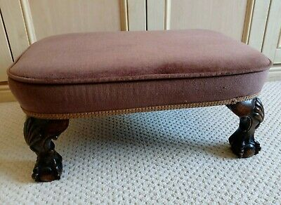 Antique Style Footstool / Pouffe Ornately Carved Feet & Covered in Brown Velvet