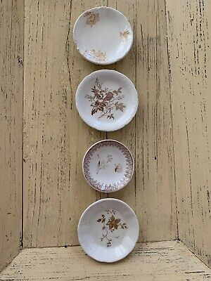 Lot of 4 ANTIQUE Brown TRANSFERWARE BUTTER PATS - INSTANT COLLECTION!