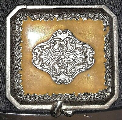 Antique Mirrored French Victorian Fleur-de-Lis Enameled Hinged Snuff Powder Box