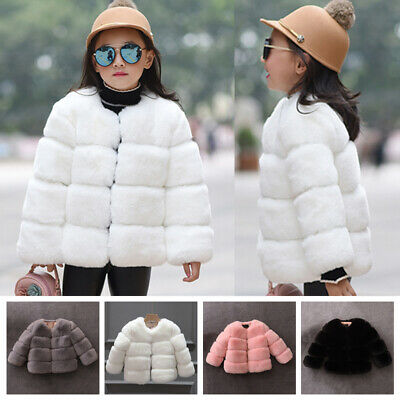 Fashion Kids Girls Winter Warm Coat Faux Fur Outerwear Jacket Clothes Age 4-11Y