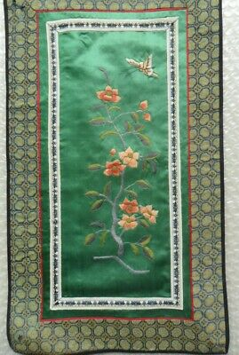 Chinese 100%Hand embroidered Peking Embroidery Art:flower butterfly