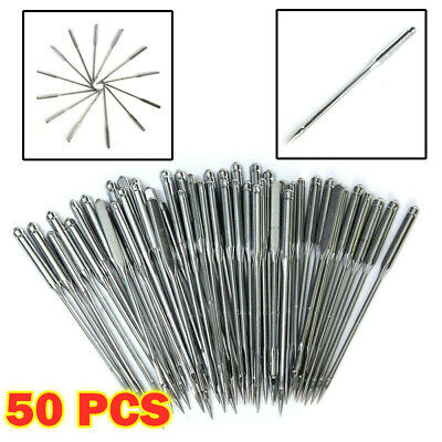 50Pcs Flat Round Domestic Home Sewing Machine Needles for Brother Janome Singer