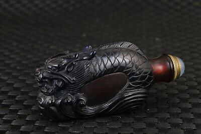 rare chinese old glass hand carved dragon statue snuff bottle netsuke