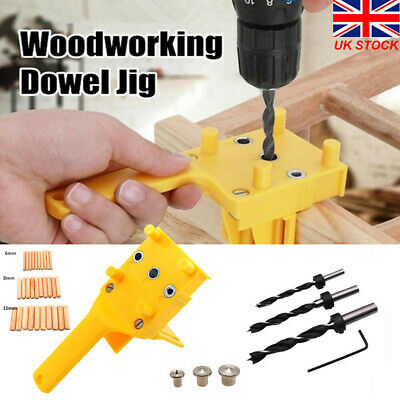 Handheld Woodworking Guide Wood Dowel Drilling Hole Saw Doweling Jig Drill Kit