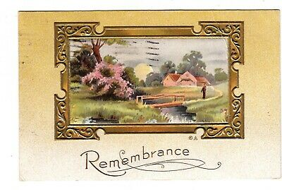Remembrance Farm Scene Bridge Gold Embossed Vintage Postcard 1911