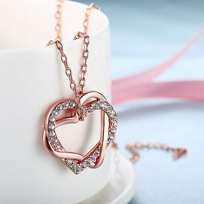 Rose Gold Plated Crystal Heart Pendant Chain Necklace Ladies Girl Jewellery