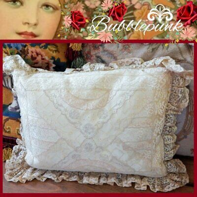 Antique Embroidered Lace B&B Cottage Chic Silk Boudoir Pillow 15x10 Bridal
