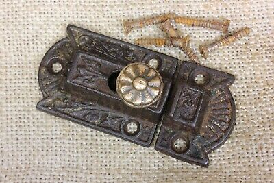 old Cabinet Catch Jelly Cupboard Latch brass knob antique rustic cast iron 3""