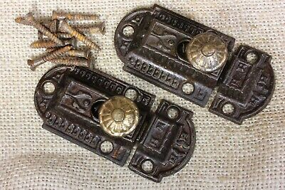 """2 old Cabinet Catches Cupboard Latches cast BRASS knob rustic vintage 2 7/8"""""""
