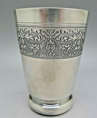 ITALIAN 800 SILVER c.1920 ROMA HAND CHASED FLORAL WORK FOOTED CUP GOLD GILT RARE