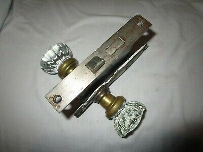 Vintage 12 Point Glass Door Knob Set Complete With Lockset And Escutehens
