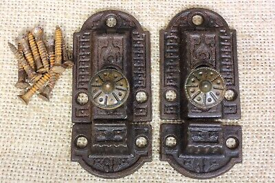 2 old Cabinet Catches Cupboard Latches cast BRASS knob rustic iron vintage 3""