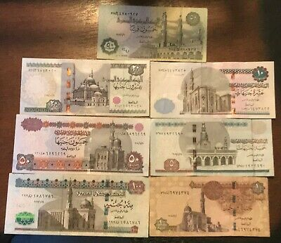Egyptian currency 1,5,10,20,50,& 100 pounds + 50 piasters or half a pound .