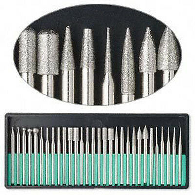 30Pcs Diamond Rotary Tool Burr Drill Bit Set Engraving For Tiles/Glass/Wood New*
