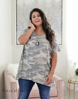 PLUS SIZE Womens USA GREEN CAMO ARMY CAMOUFLAGE COLD SHOULDER SHIRT 1X 2X 3X