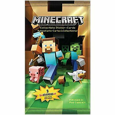 MINECRAFT Collectable Sticker-Cards - 3 Stickers Per Pack - Sealed Booster