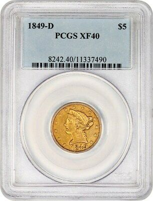 1849-D $5 PCGS XF40 - Great D-Mint Type Coin - Liberty Half Eagle - Gold Coin