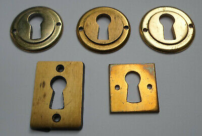 Vintage Solid Brass Keyhole Cover x5 Escutcheon
