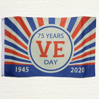 VE Day 75th Anniversary Flags, 5ft*3ft Bunting - V-E Day decorations 2020 NEW