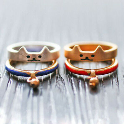 2PCS/Set Cute Cat Charm Ring Midi Finger Ring Knuckle Rings Women Jewelry DS